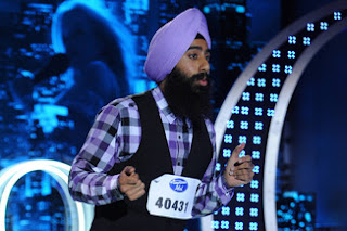 Hindu Hindi Indian man in turbin performs for judges in American Idol Fox