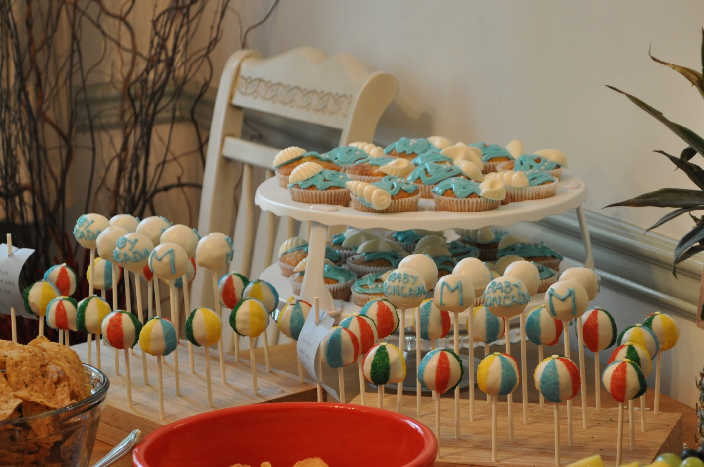 beach theme baby shower dessert spread