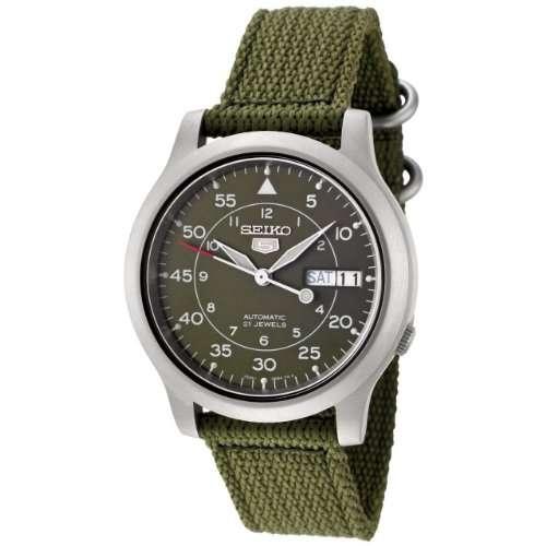 Seiko Men's SNK805 Seiko 5 Automatic Green Canvas Strap Watch