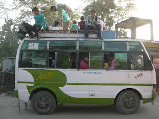 overcrowded bus in Chitwan Nepal