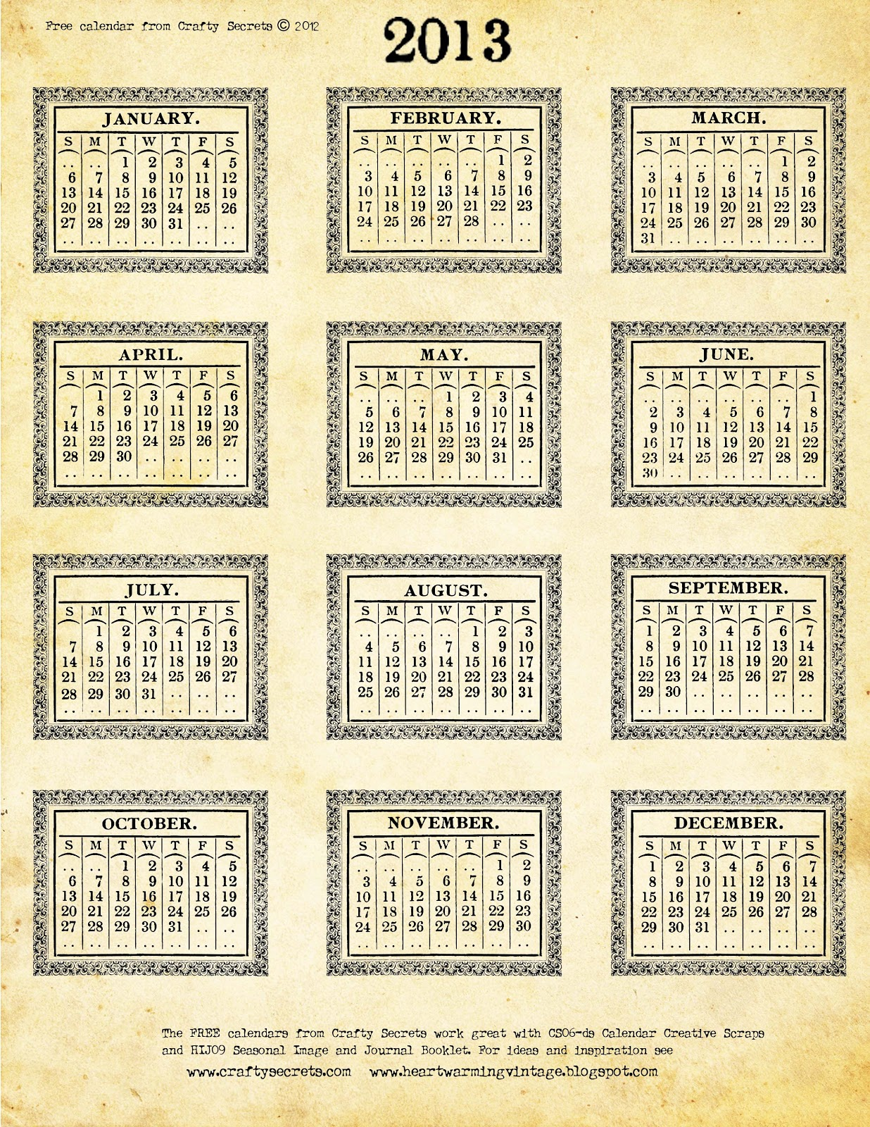 Large Box Calendar Printable | Calendar Template 2016