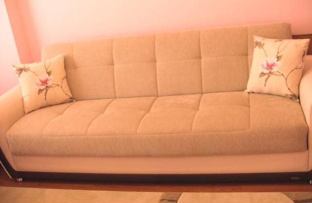 pembe çiçek yastıklı kanepe