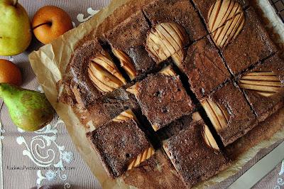 362. Bardzo czekoladowe brownie z gruszkami na jesienne wieczory