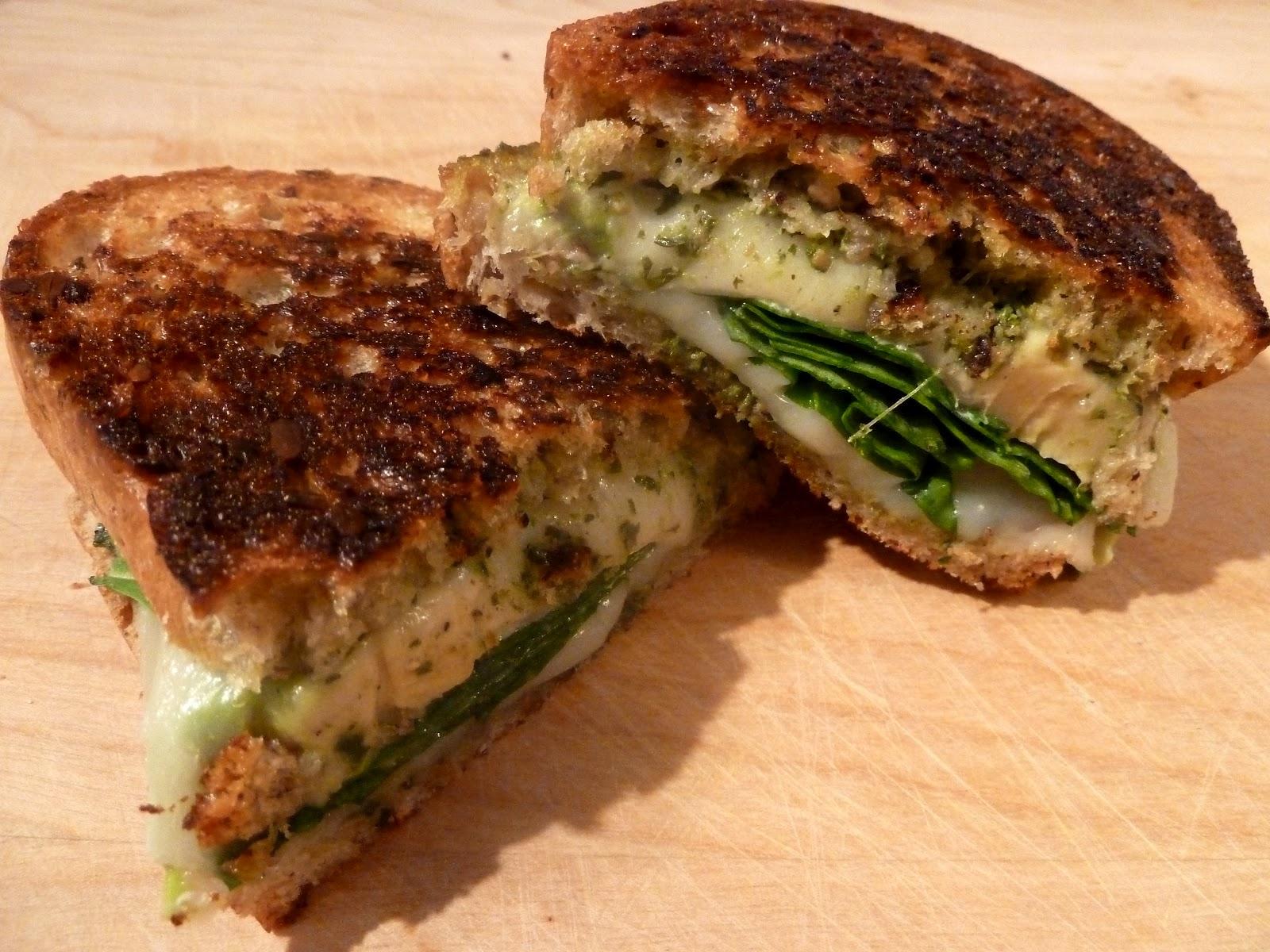 Spinach Pesto Grilled Cheese Sandwich Recipes — Dishmaps