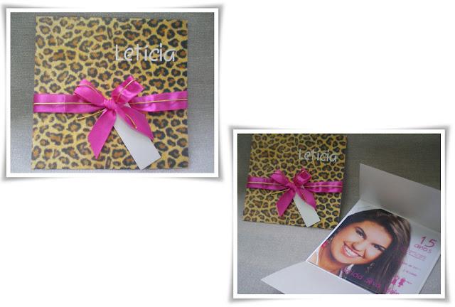 15 anos Letícia, Modelo Envelope 4 e Cartão 15.