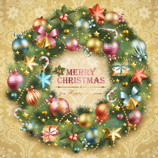 Beautiful Merry Christmas and happy holidays lettering in center of Christmas wreath decoration with X mas bells, baubles,gifts,stars in flowers texture background