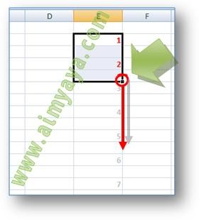 Gambar: Cara membuat nomor otomatis selang 1, 2, atau beberapa baris di Microsoft Excel