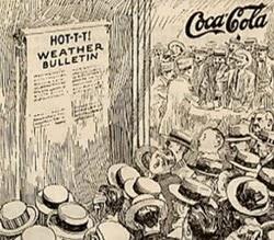 Propaganda da Coca-Cola em 1900 para combate ao calor.