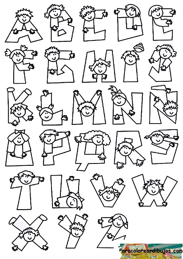 Abecedario con niños para colorear | Para colorear dibujos y dibujos