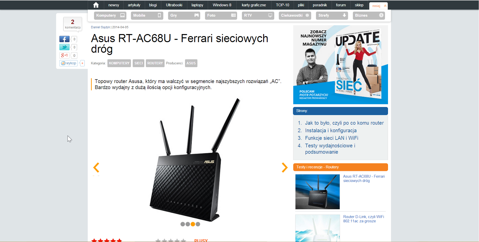 Strona z testem routera ASUS RT-AC68U