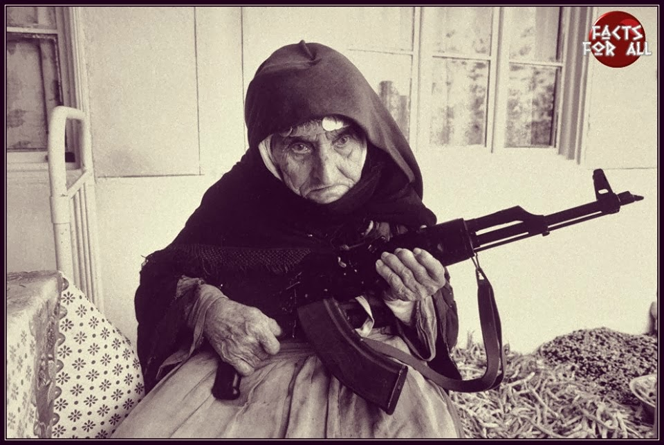 old lady with AK-47