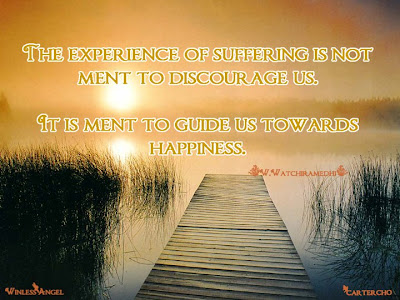 The experience of suffering is not meat to discourage us