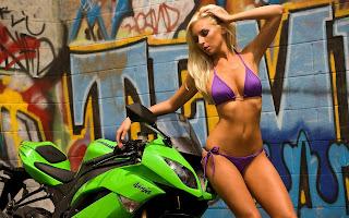 Blonde Bikini Girl Kawasaki Motorbike Wallpaper