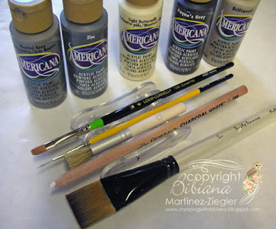 how to paint a cobblestone path: acrylic paints and supplies