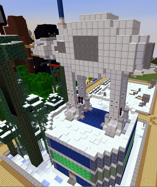 Minecraft Star Wars Builds: AT-AT Walker with Dancing Villagers in Arena Below by TrulyBratiful