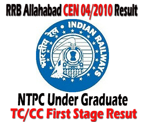 RRB Allahabad (ALD) CEN 04/2010 Ticket Collector/Commercial Clerk (TC/CC) Preliminary First Stage Exam Result and Second Stage Admit Card