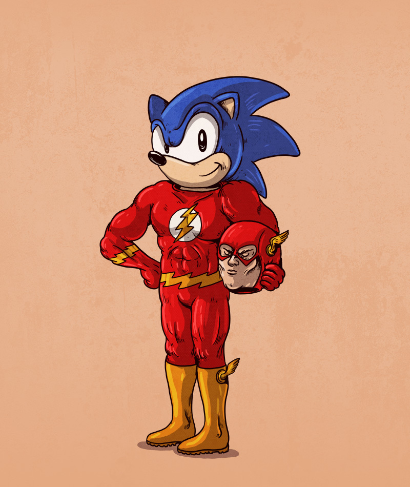 22-The-Flash-and-Sonic-the-Hedgehog-Alex-Solis-Illustrations-of-Icons-Unmasked-www-designstack-co