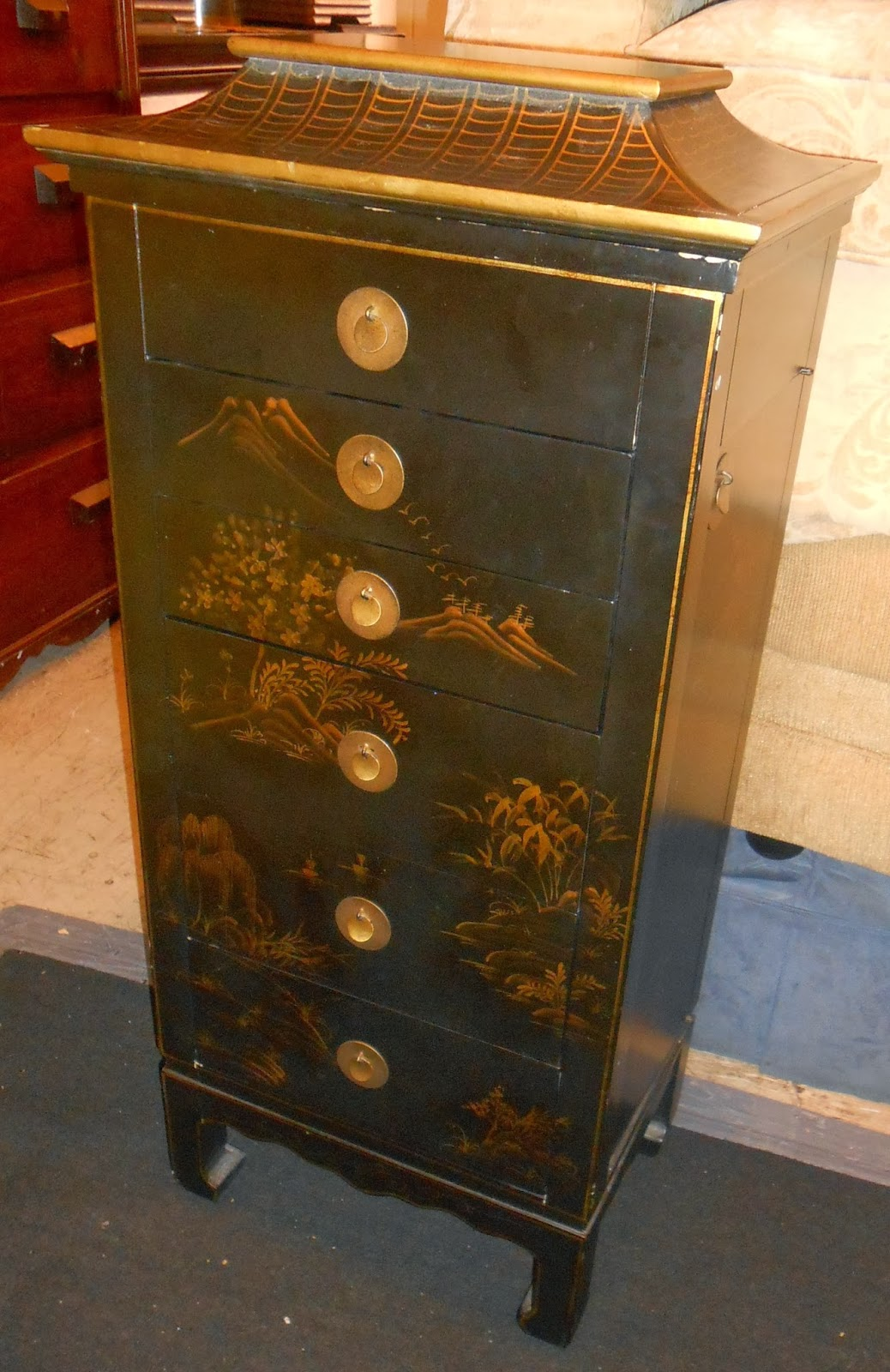 Uhuru Furniture Collectibles Asian Style Jewelry Armoire SOLD