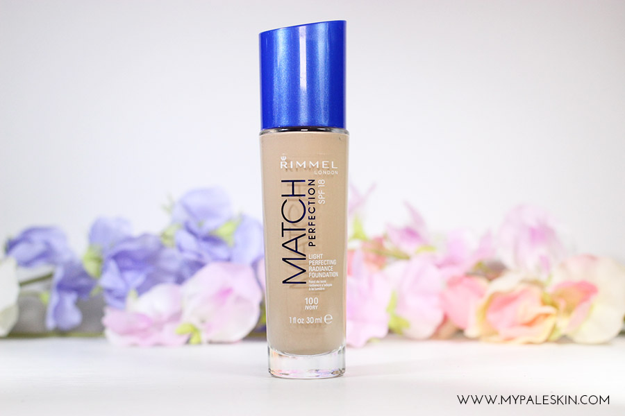 Rimmel Match Perfection foundation Shade 100 Ivory pale skin my pale skin