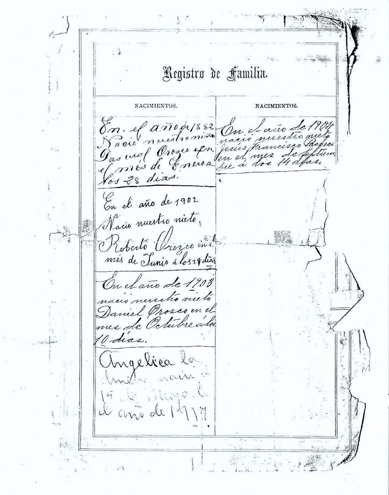 Pascual Orozco, el Rebelde del Norte: Registros de Familia