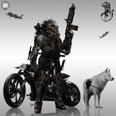 Bergaya romawi bersama motor dan serigala