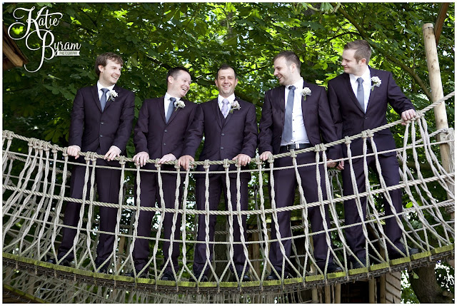 groomsmen, treehouse, rope bridge, ellingham hall, ellingham hall wedding, northumberland wedding photographer, newcastle wedding photographer, ceremony signs, paper pom poms, quirky wedding photography, katie byram photography, diy wedding