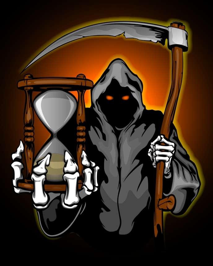 Manden med leen + timeglas / Grim reaper with hourglass