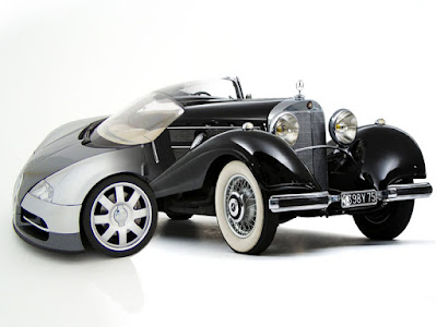 bugatti veyron and 1935 mercedes benz