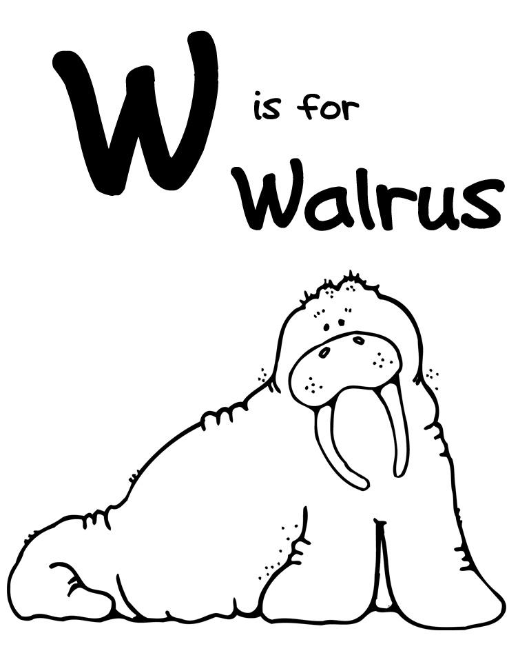 We Love Being Moms Letter W Walrus
