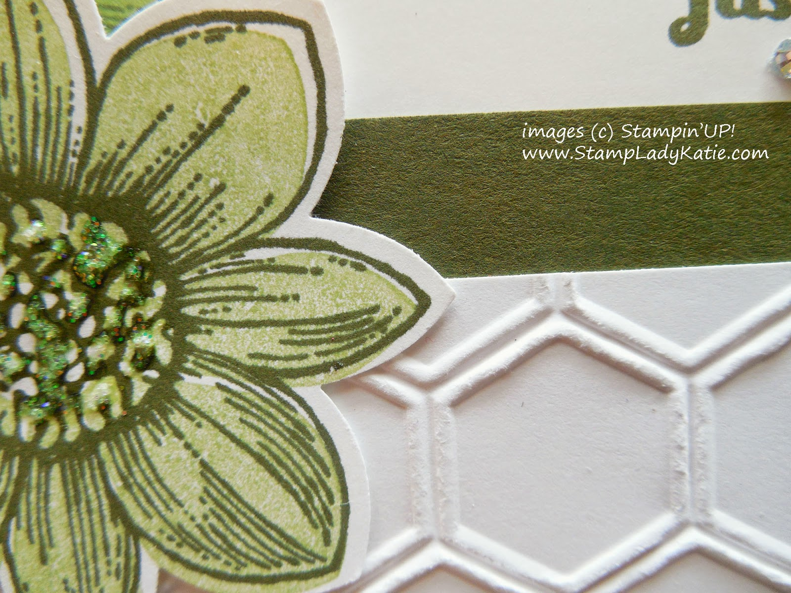 Card made with Stampin'UP!'s Petal Potpourri Stamp Set and Dazzling Details glitter glue in the center of the flower