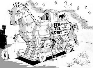 Cartoon | Fix the debt is a trojan horse for corporaye tax cuts