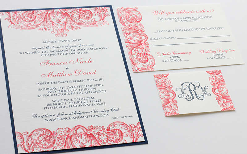 Coral navy wedding invitations