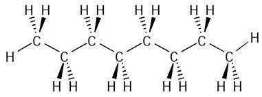 Struktur molekul oktana (C8H18)