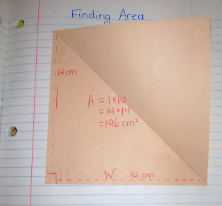 photo of area of triangles math journal entry @ Runde's Room