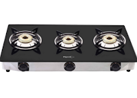 Buy Pigeon 3 Burner Gas Stove Prima Crystal at Rs. 2376 only  :buytoearn