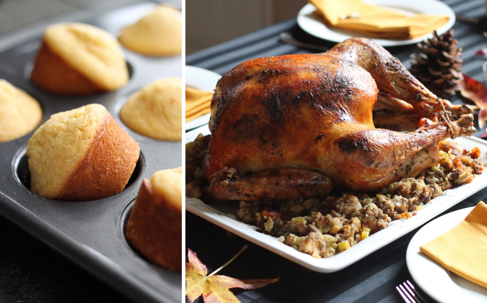The Cilantropist: Honey Cornbread Muffins, and My Thanksgiving Meal