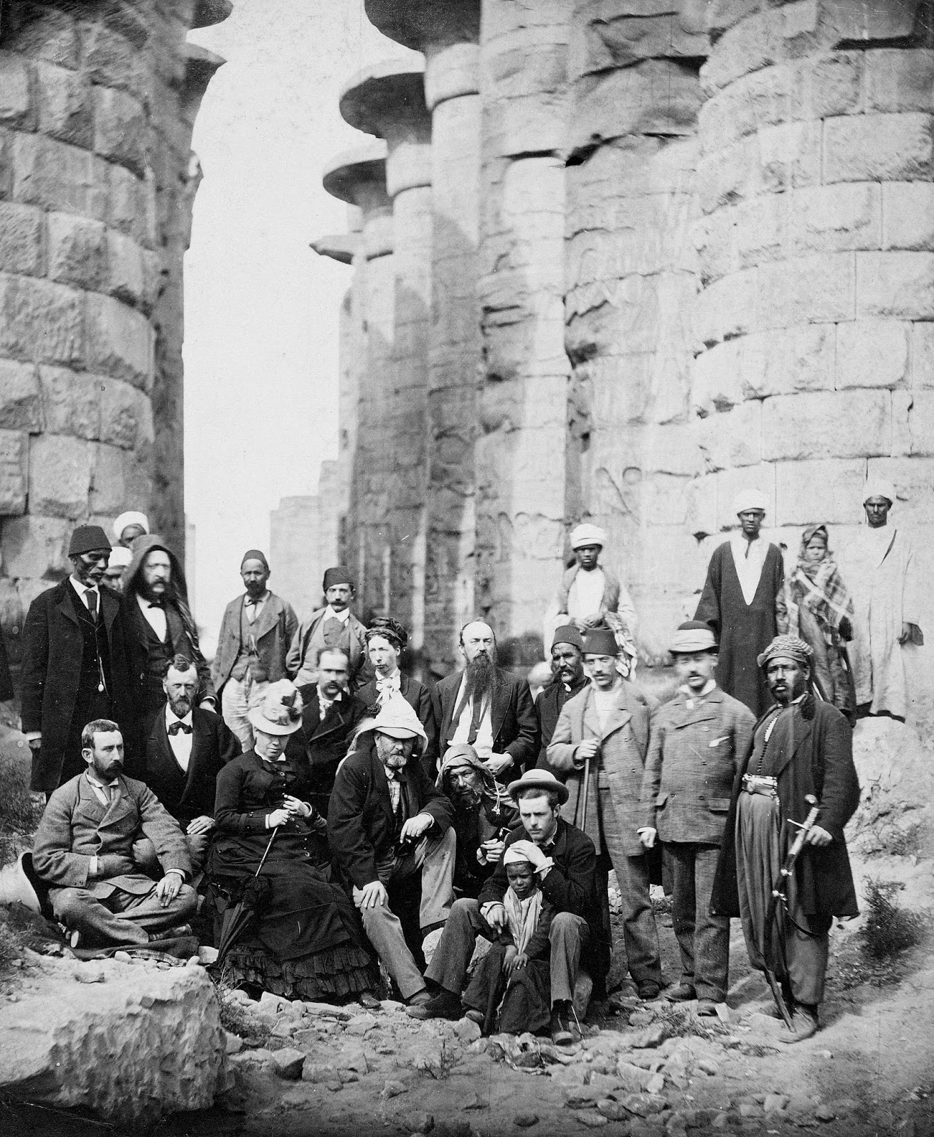 Ulysses S Grant Posing With Family Members Entourage And Locals At The Karnak Temple Complex In Egypt 1870s