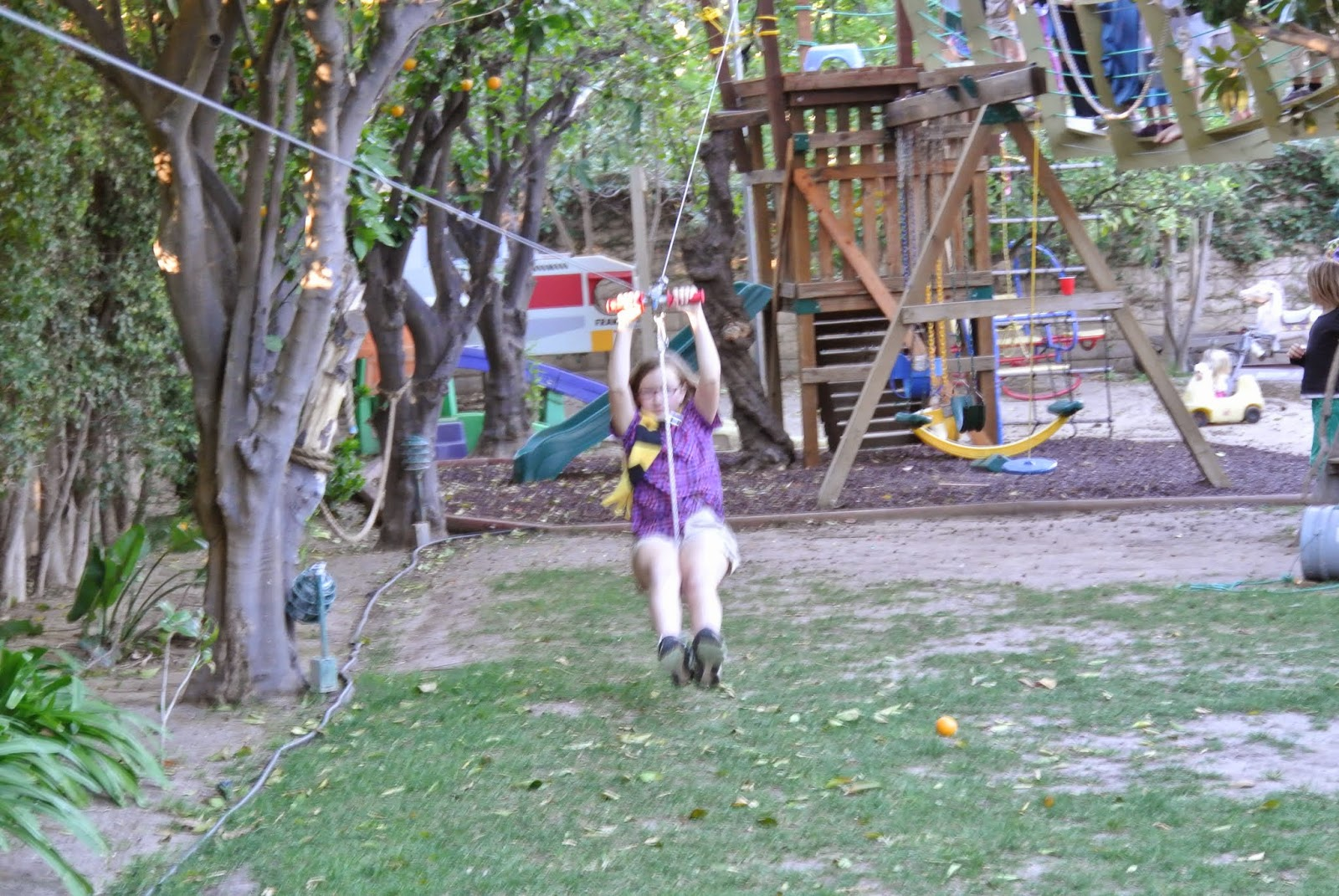 Jack And Grandad Just Happened To Design Install A Zipline In The Backyard At Christmas So Kids Got Ride Their Brooms Down Get