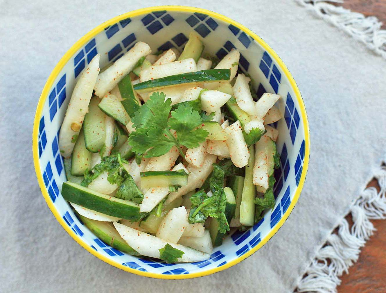 Jicama Salad with Cilantro and Lime | Girl Cooks World