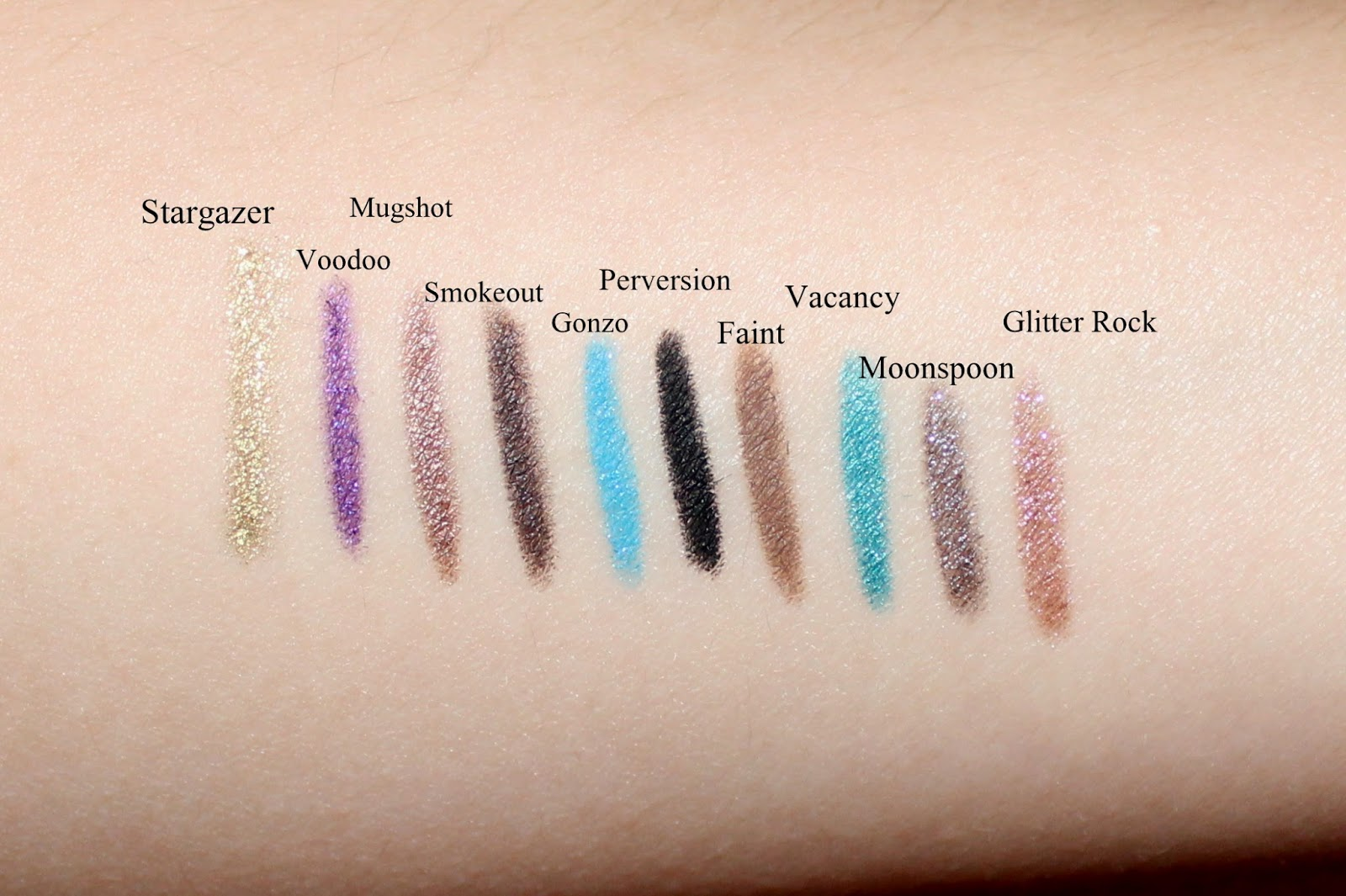Urban Decay TEN 247 Glide-On Eye Pencil Set Swatches