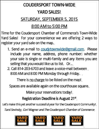 8-21/9-5 Coudersport Town-Wide Sales