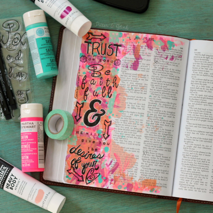 An illustration of pieces of Psalm 37--Using Bible Journaling to study God's Word. www.pitterandglink.com