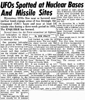 UFOs Spotted at Nuclear Nases and Missile Sites - By Bob Pratt (National Enquirer 12-13-1977)