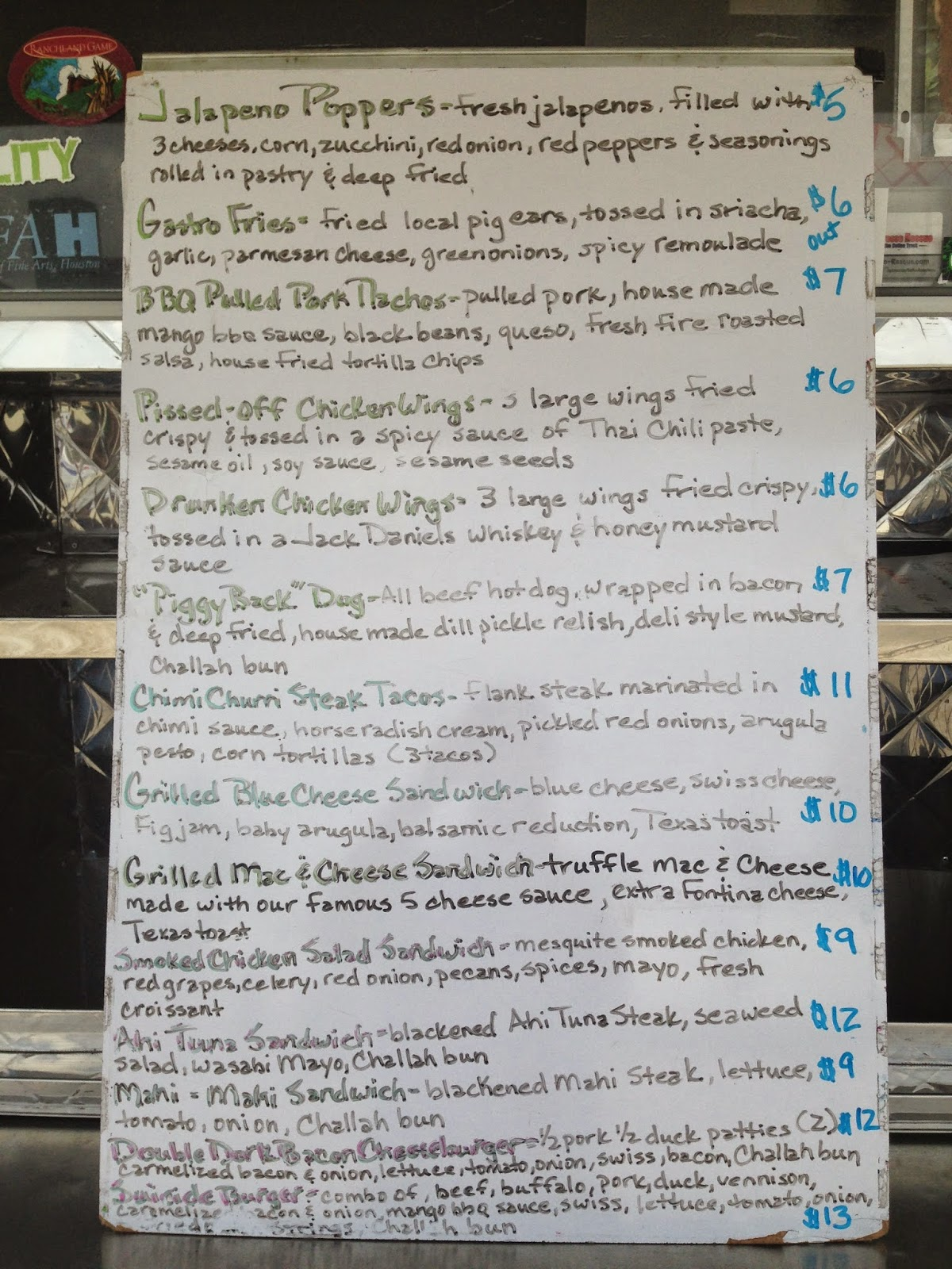 Gastro Punk Food Truck Menu, Houston TX