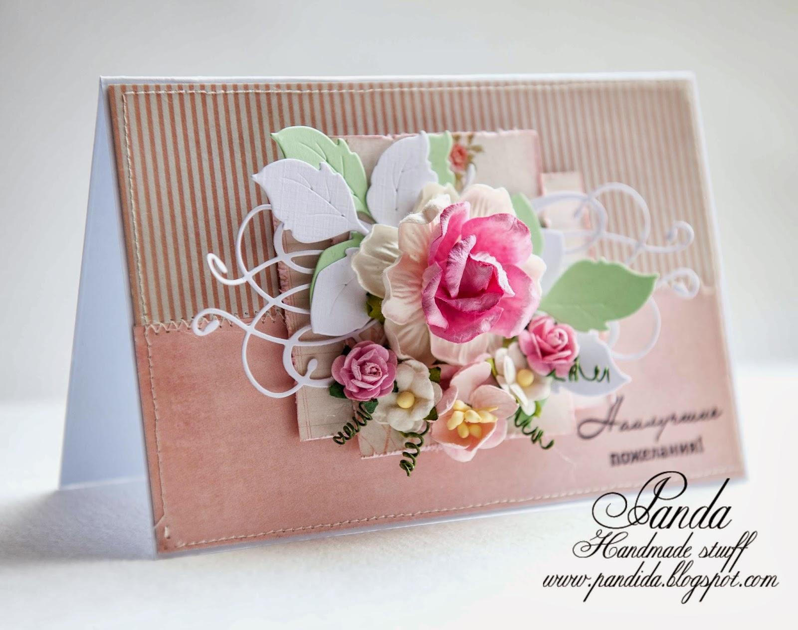 цветочная открытка, ножи от Memory Box и Magnolia