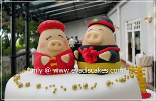 Picture of Penang Cakes - Evadis Cupcakes - Piggies Wedding Fondant Cake