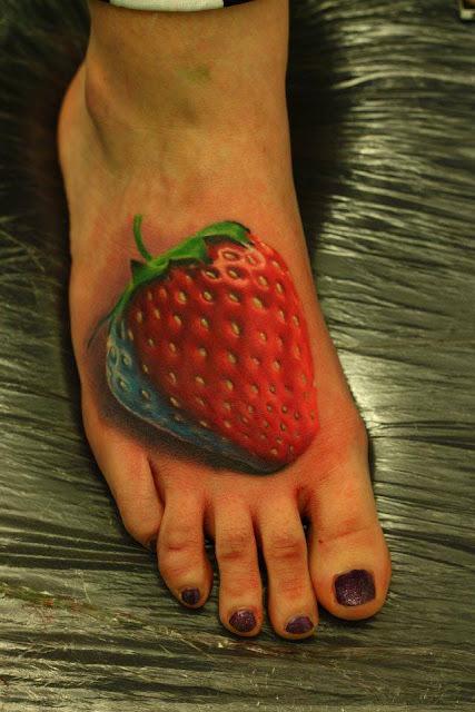 3D strawberry tattoo on feet
