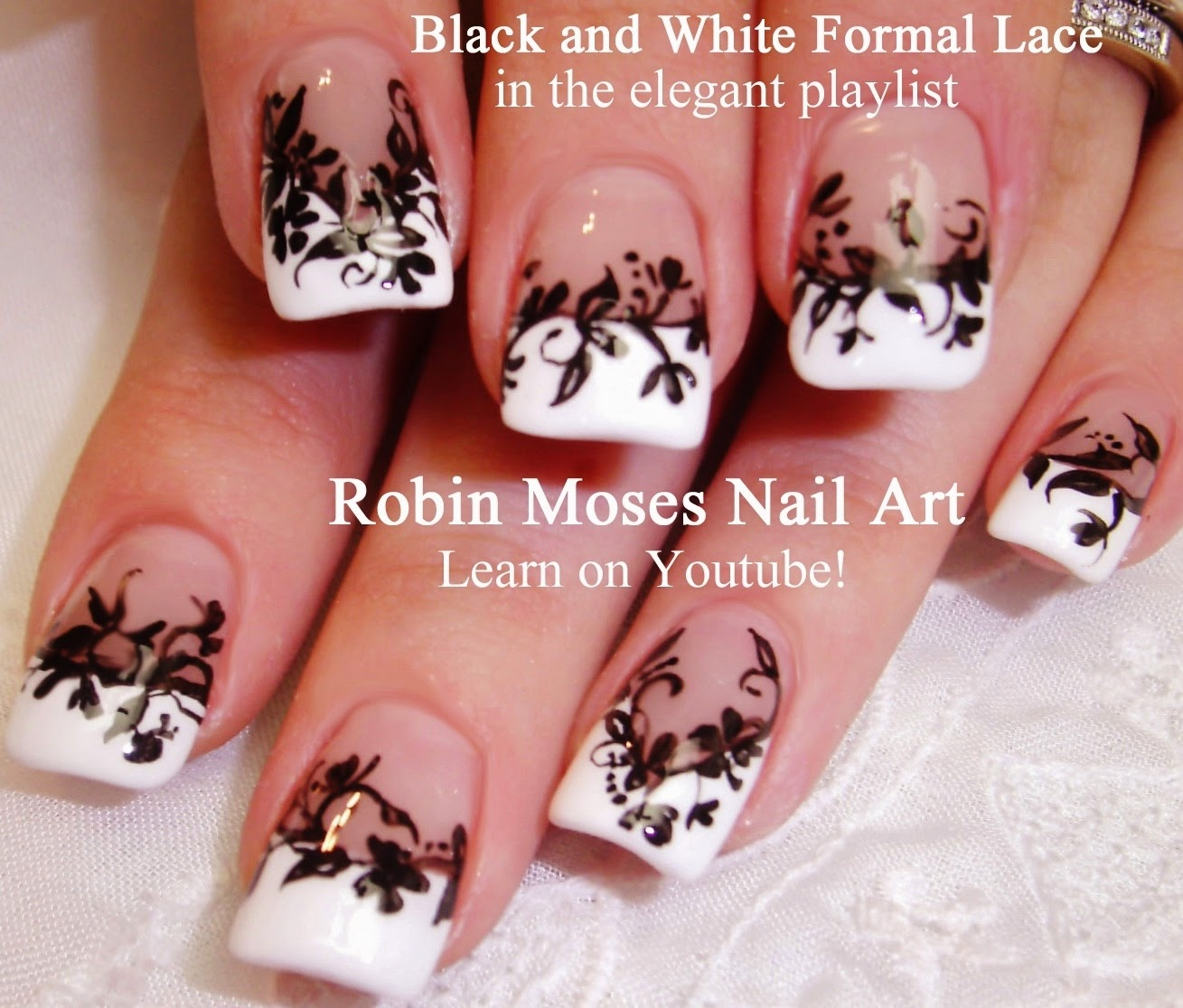 Robin moses nail art flower nails black and white nails nail art tutorials flower nail art diy easy flower nail art designs for beginners and up prinsesfo Image collections