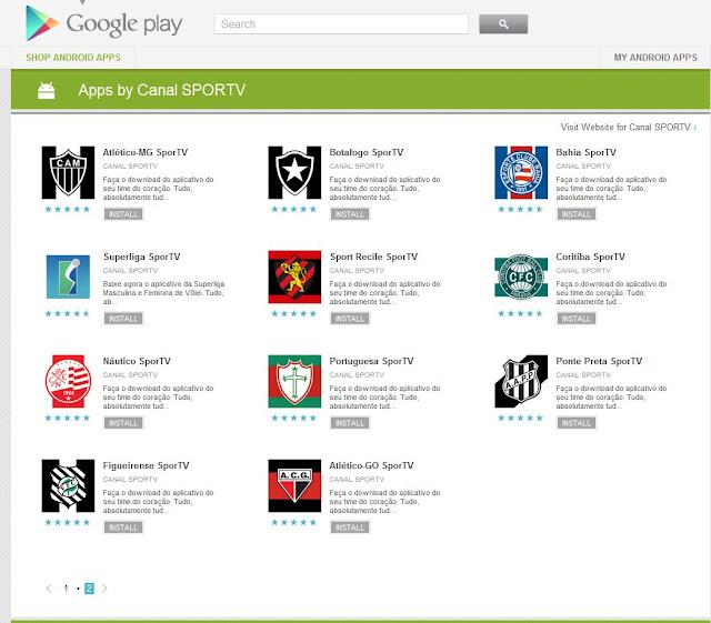 Página do Google Play (Android) com os apps da SporTV sobre clubes de futebol (Foto: Reprodução)