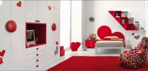 red kids bedroom decor
